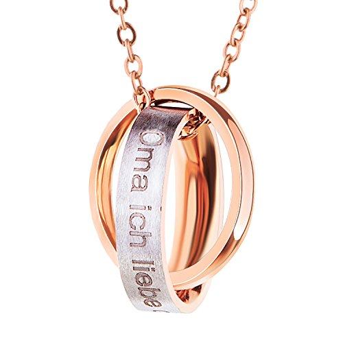 Bliqniq Edelstahl Halskette Damen Frauen Silber Rosegold mit Anhänger mit Gravur Oma/Mama, Ich Liebe Dich für Immer Nie verfärben