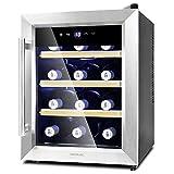 Cecotec Cave à vin Grand Sommelier 1600 SilenceWood. 16 Bouteilles, 48L, Porte en...