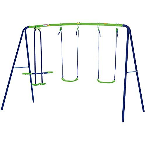Aktive 54080 - Columpio jardín exterior para niños, Columpio infantil doble, Balancín para niños, medidas 280 x 140 x 179 cm, 4 asientos, , peso máx 180 kg, +3 años
