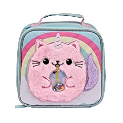 FLUFFY KITTYCORN DESIGN: Keep kids reaching for lunch with this fun fluffy Kittycorn design lunch cooler bag. Featuring shake up sequin in her tummy, this is a delight for children. PERSONALISABLE AND UNMISSABLE: Small plastic window and card name in...