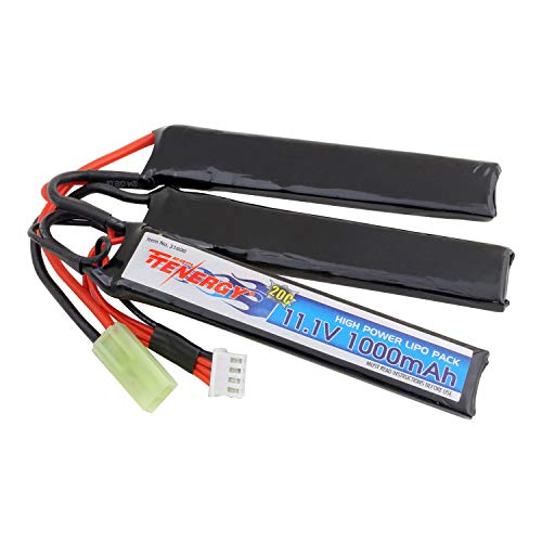 Tenergy Airsoft Battery 11.1V 1000mAh LiPo Battery Pack, Crane Stock Battery Pack Split Type w/Mini Tamiya Connector Rechargeable Hobby Battery Pack for AEGs