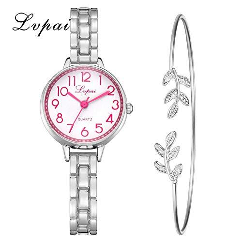 TYYW Reloj de pulsera de cuarzo para mujer, elegante, color plateado y rosa