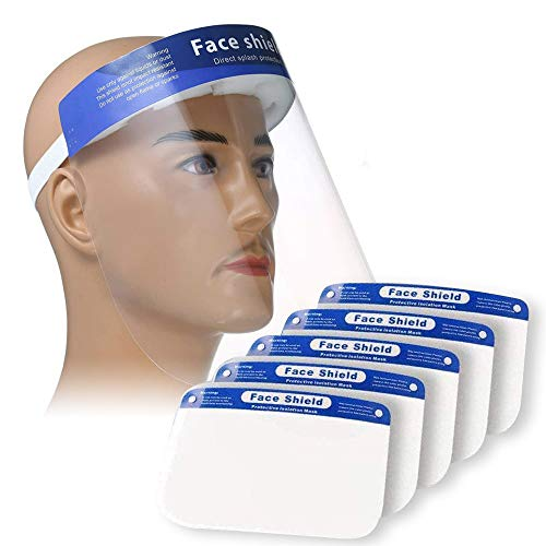 PLESON 5PCS Face Shield Full Face Protect Eyes and Face Plastic Face Shield with Safety Protective Clear Film Elastic Band and Comfort Sponge Dental Face Shield for Men Women