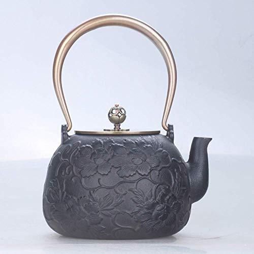 LZZ Travel tea set,Tea Set Teapots,Cast Iron Iron Peony Japanese Iron Pot Cast Iron Pot Pot Handmade Tea Pot Boiled Tea Old Iron Pot Tea Set Double Copper 1.3L Present
