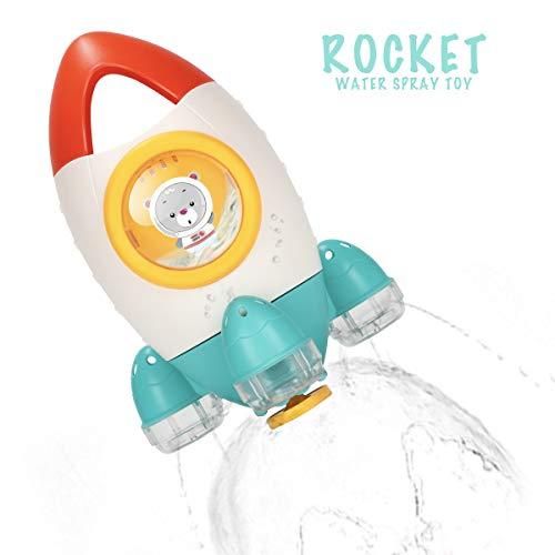 HengGL Baby Bad Spielzeug - Brunnen Rakete Bad Spielzeug für 1 2 3 4 5 Jahre alte Kinder Spaß Bad Zeit Badewanne Spielzeug Wasser Spin(Gelbe)