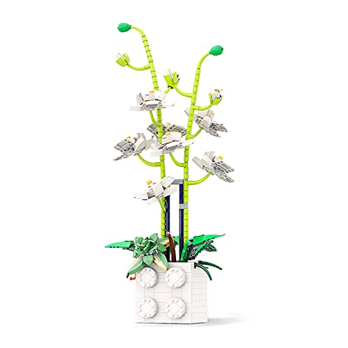 Vonado Orchid Artificial Flowers Building Blocks, Fake Phalaenopsis Bouquet Building Bricks Set for Gift, Creative DIY Blooms Building Kit Toy for Wedding Party Home Office and Garden Decor(742 PCs)