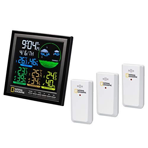 National Geographic Estación meteorológica inalámbrica con sensor exterior, estación meteorológica a color VA con 4 rangos de medición para interior o exterior