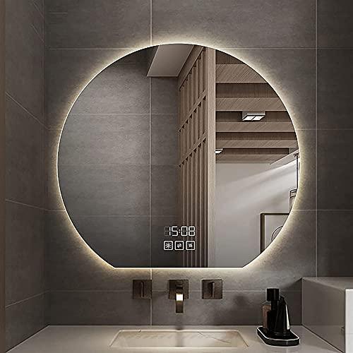 MiduoHu Espejo de Bao LED Redondo, con Iluminacin Integrada y Proteccin Antivaho, Espejo de Pared con Control tctil Antivaho, para Maquillaje Cosmtico Espejo para Maquillarse