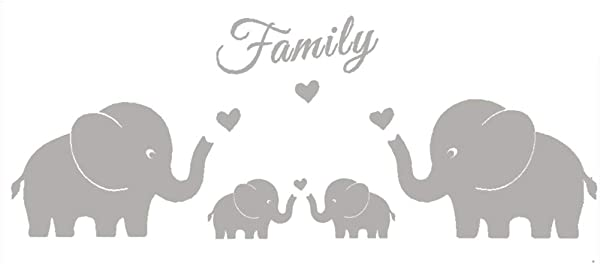 MAFENT 4 Cute Elephants Family Wall Decals Parents And Twins Elephant Wall Decal For Baby Nursery Love Heart Family Words Vinyl Wall Art Elephant Home Decor Grey