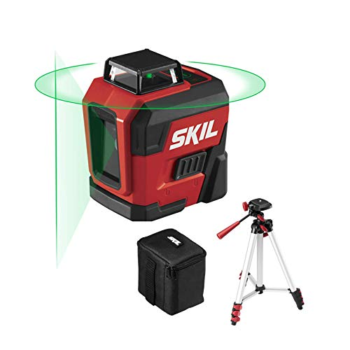 SKIL 100ft. 360° Green Self-Leveling Cross Line Laser Level with Horizontal and Vertical Lines, Rechargeable Lithium Battery with USB Charging Port, Compact Tripod & Carry Bag Included - LL9322G-01
