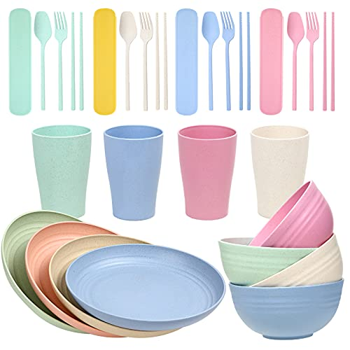 Wwyybfk 28PCS Wheat Straw Dinnerware Set Natural Unbreakable Tableware Set Microwave Dishwasher Safe with Plates, Cups, Bowls and Cutlery for Camping, Travel, Picnic, School, Office