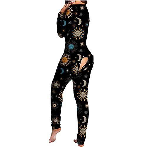 Mono para mujer con estampado de botones y solapa abotonada funcional para adultos, de una pieza, de corte entallado, para pantalones, L-negro, M