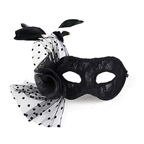 AMAGOOD Fancy Masquerade Mask for Women with Feathers Black