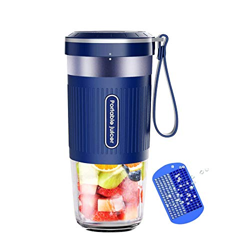 KLOUDI Portable Blender, Cordless Personal Blender Juicer, Mini Mixer, Waterproof Smoothie Blender With USB Rechargeable, BPA Free Tritan 300ml, Home, Office, Sports, Travel, Outdoors Blue