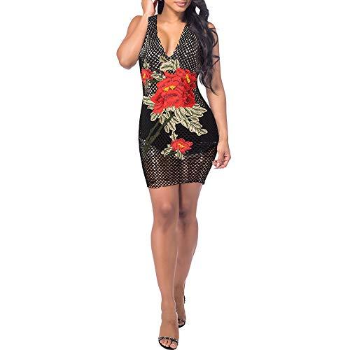 XZSJT Conjuntos De Lencería para Mujermujer Lencería Sexy Club Vestidos De Malla Grandes Vestido Erótico Floral Cuello En V Profundo Vestido De Sexo Rosa Bordado Negro @ Black_L