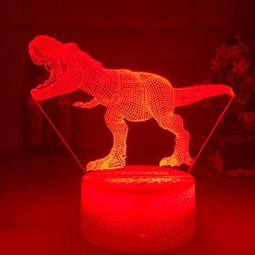ZGBB Dinosaurio 3d LED noche luz escritorio noche táctil remoto lámpara de mesa decoración regalos para bebé niños cumpleaños vacaciones niña amiga 7colornoRemote