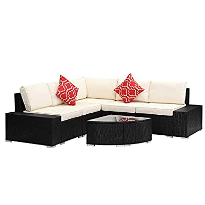 Patio Sofa Furniture Sets 6 Piece, Outdoor PE Wicker Rattan Conversation Sofa Set with Coffee Table, Dark Brown