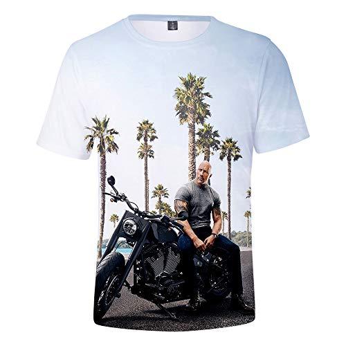 XIUFANG Herren 3D Drucken T-Shirts Dominic Toretto Luke Hobbs Deckard Shaw Grafik Kleidung Cool Neuheit Lustig Mode Cosplay Mantel Lose Beiläufig Kurzarm Rundhals Sommer Top Tees,D,XL