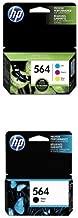 HP 564 Cyan, Magenta & Yellow Original Ink Cartridges, 3 pack (N9H57FN) and HP 564 Black Original Ink Cartridge (CB316WN) Bundle