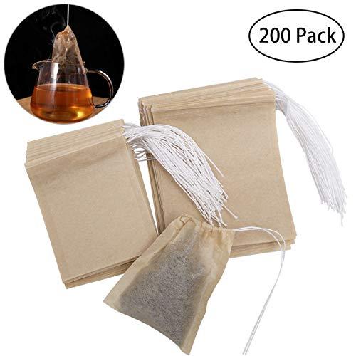 OUNONA 200pcs Sacchetti di tè USA e Getta bustine di tè per tè Sfuso (9 * 7 cm e 7 * 5.5 cm)