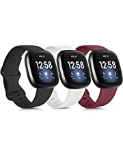 3 Pack Silicone Bands for Fitbit Versa 3 & Fitbit Sense, Soft Replacement Sport Wristbands for Fitbit Versa 3 & Fitbit Sense for Women Men Small Large (Large, Black+White+Grey)