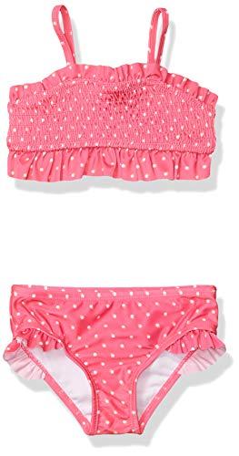 Nautica Girls' Bikini Swim Suit with UPF 50+ Sun Protection, Smocked Pink Glow, 5