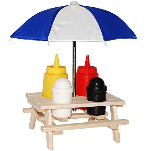 alles-meine.de GmbH 6 TLG. Set: Saucen , Gewürze & Salz - Halter - Picknicktisch mit Sonnenschirm - blau - Ketchup Senf Pfefferstreuer - Tisch - Menageset / Menage - Dosierflasch..