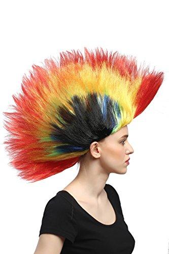 WIG ME UP ® - DH1159 Peluca Carnaval Halloween Wave Punk roquero Cresta Mohawk 80s Colorido Rojo Amarillo Verde Azul Negro