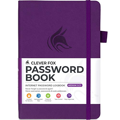 Clever Fox Password Book with tabs. Internet Address and Password Organizer Logbook with Alphabetical tabs. Small Pocket...