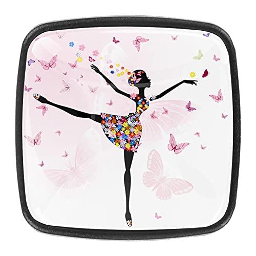 Juego de 4 tiradores de cajón y pomos para cajones con tornillos de cristal para cajón, gabinete, tirador de armario, accesorios para armario, bailarina, niña, flores, mariposa, 35 mm
