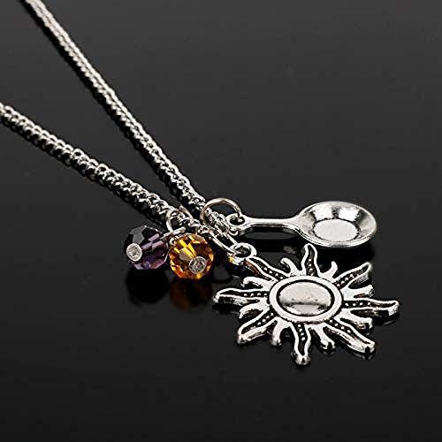 Xianglsp Co.,ltd Halskette Herren S Halskette Mode Prinzessin Rapunzel Tangled Charm Halskette Antike Bratpfanne Sun Crystal Bead Anhänger Halskette Für Frauen Mädchen Geschenk
