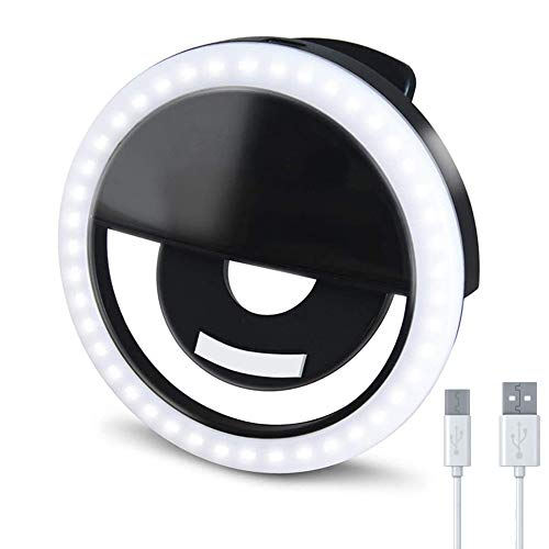 SYGY Selfie Ring Light, Led Clip-on Circle Light, Mini Makeup Selfie Fill Light with Rechargeable 3 Level Brightness for iPhone, iPad, Android, Camera, Photography, Laptop, Video Conference (Black)