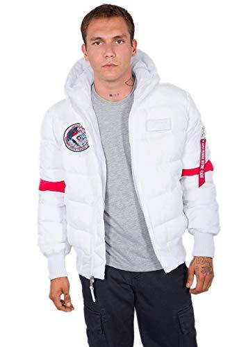 Alpha Industries Hooded Puffer FD NASA Jacke Weiß/Rot M