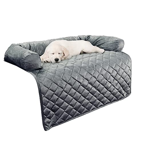 """Furniture Protector Pet Cover for Dogs and Cats with Shredded Memory Foam filled 3-Sided Bolster Soft Plush Fabric by PETMAKER – 35"""" x 35"""" Gray"""