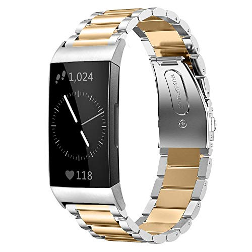 Shangpule Compatible for Fitbit Charge 3 / Fitbit Charge 4 / Fitbit Charge 3 SE bands, Stainless Steel Metal Replacement Strap Bracelet Wrist Band Large Small (Silver + Gold)