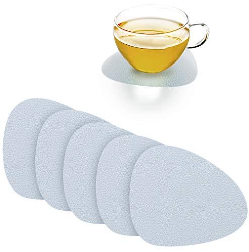 ASFINS Untersetzer 6er Set, Untersetzer Silikon Tischunterlage Tischset Rutschfest, für Kaffeetassen Teller Geschirr, Tropfenform, 12,5 x 11cm (Grau)