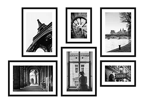 POSTORO Stilvolles Wohnzimmer Poster Set, 6 harmonisch aufeinander abgestimmte Bilder, 4 x DIN A3 + 2 x DIN A4 (Posterset (A3+A4) ohne Rahmen, Paris II)