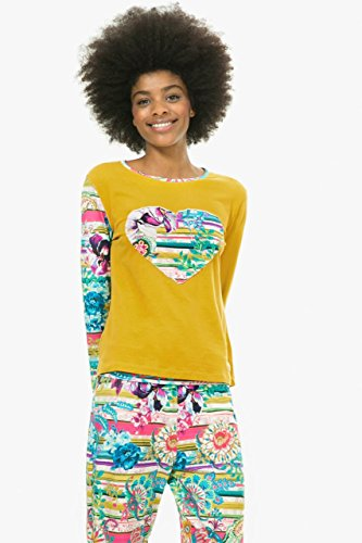 Camiseta de pijama Desigual Ls Pasiley Bloom Nc amarillo L