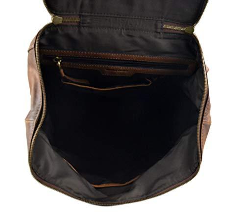 41fW425N2yL - Mochila de piel vintage mochila piel lavada mochila marrón hombre mujer mochila viaje mochila de cuero mochila sport…