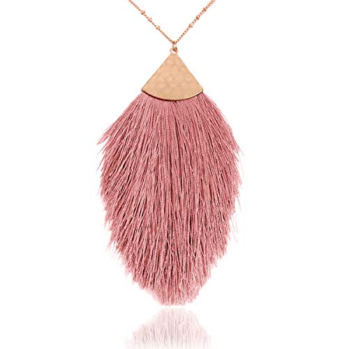 RIAH FASHION Bohemian Fringe Tassel Pendant Statement Necklace - Silky Strand Thread Marquise Feather Leaf Fan Charm Vintage Antique Gold Long Chain (Petal Tassel - Dusty Pink)