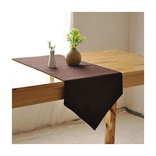 Rubyia Camino Mesa Comedor Decorativo, Color Sólido Simple Corredor de Mesa Decoración Cocina, Algodón y Lino, 30 x 220 cm, Café