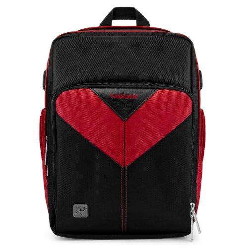 Vangoddy VGSpartaRED Sparta DSLR Camera Bag with Customizable Interior (Black/Red)