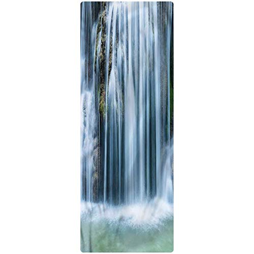 Waterfall Kitchen Mat, 2'x4', Cascade in Rainforest Decorative Runner Rug with Non Slip Backing for Hallway Entry Way Floor Carpet