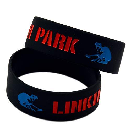 HAIHF Braccialetto in Silicone, Braccialetti in Silicone con Braccialetti in Gomma Detti (Linkin Park) per Uomo Incoraggiamento Set di 6 Pezzi Regalo di Compleanno