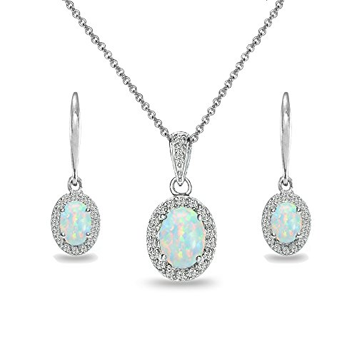 Sterling Silver Synthetic White Opal & White Topaz Oval Halo Necklace & Leverback Earrings Set
