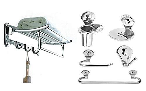 Fortune Stainless Steel 18 Inch Folding Towel Rack + Bathroom Accessories Set (Towel Rod/Napkin Ring/Soap Dish/Tumbler Holder/Robe...