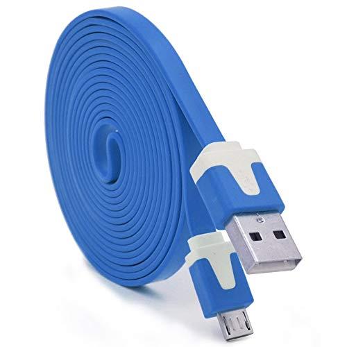 Shot Case Noodle-kabel, 3 m, Micro-USB, voor controller XBox One 3 m, USB-oplader voor smartphone, aansluiting (kleur blauw)