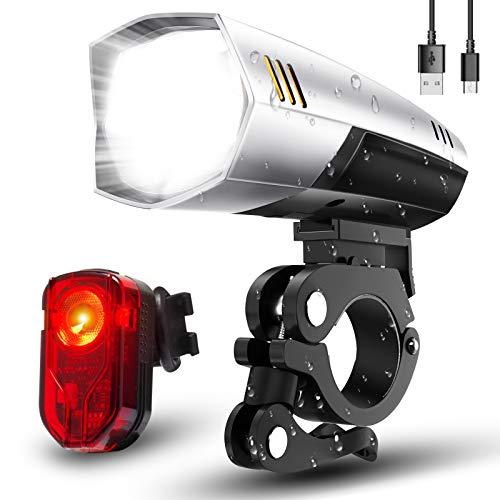 LIFEBEE Fahrradlicht, Led Fahrradlicht Set Fahrradbeleuchtung USB Fahrradlicht Vorne Rücklicht Fahrradlampe Led Set, Wasserdicht Fahrrad Licht mit 2 Licht-Modi für Mountainbike
