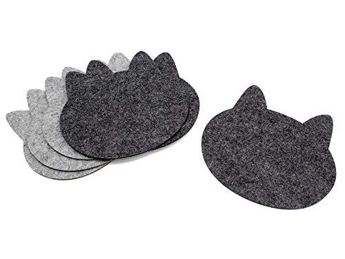 Luxflair Topfuntersetzer 6er Set für den Tisch, hitzebeständig, Graumeliert und dunkelgrau, aus Polyester-Filz im modernen Design in der Katzenform