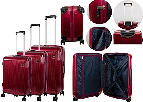 Set OF3 HARDHSELL Juego de equipaje 8WHEEL Burgandy